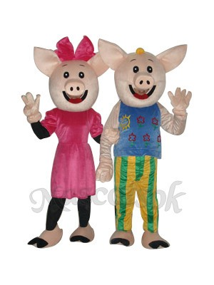 Cocoa Couple Pig Mascot Adult Costume