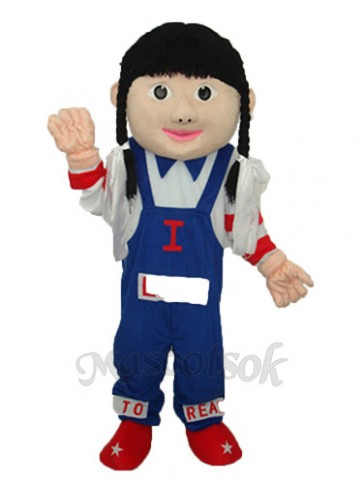 Cowgirl (blue overalls) Mascot Adult Costume