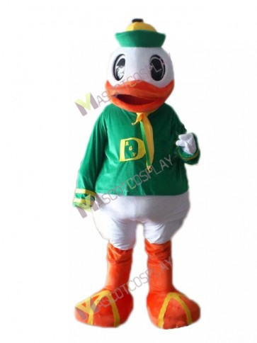 Oregon Duck College Mascot Costume with Green Suit