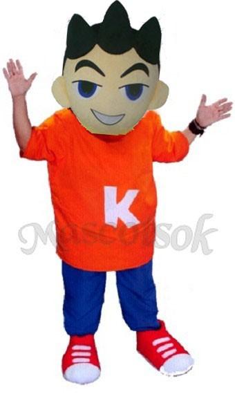Big Head Boy with Orange Clothes Plush Adult Mascot Costume