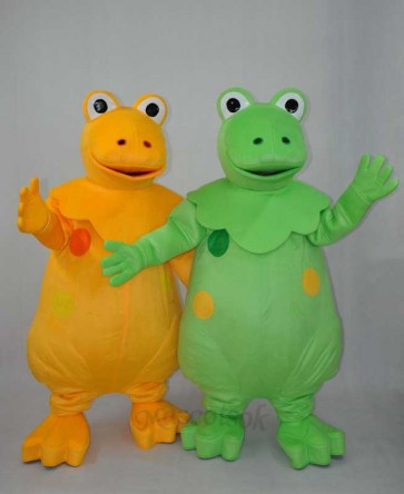 Yellow and Green Dinosaur Brothers Plush Adult Mascot Costume