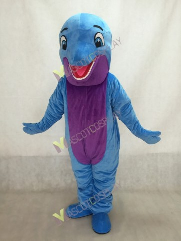 Blue Happy Dolphin Mascot Costume with Purple Belly