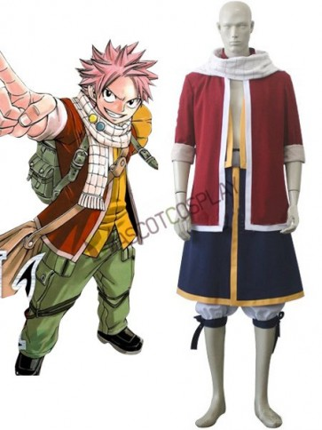 Red Fairy Tail Natsu Dragneel Cosplay Costume