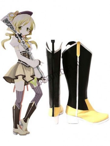 Black And Yellow Puella Magi Madoka Magica  2'' Heel Faux Leather Cosplay Shoes