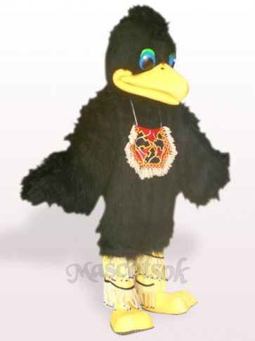 Black Hair Bird Plush Adult Mascot Costume