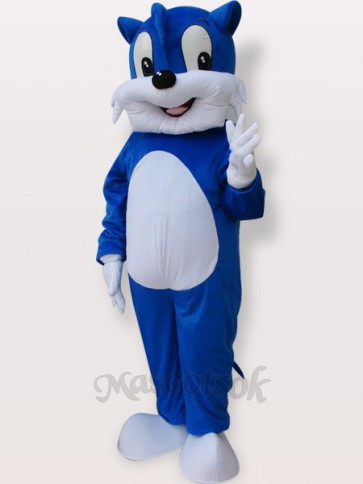 Blue Cat Short Plush Adult Mascot Costume