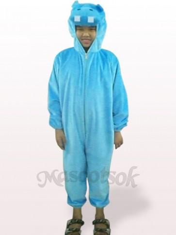 Blue Hippo Open Face Kids Plush Mascot Costume