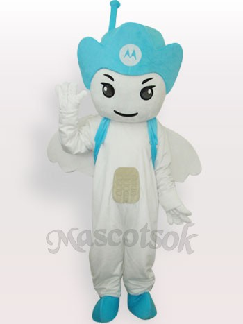 Blue Moto Angel Short Plush Adult Mascot Costume