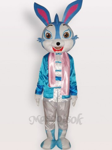 Easter Blue Rabbit Short Plush Adult Mascot Costume