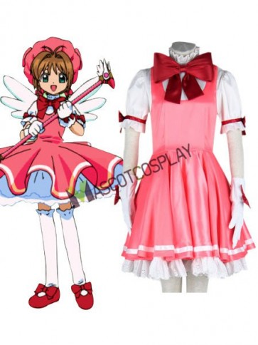Card Captor Sakura Kinomoto 65% Cotton 35% Polyester Girls Cosplay Costume Outfit