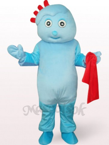 Cute Boy In Blue Clothes Plush Mascot Costume