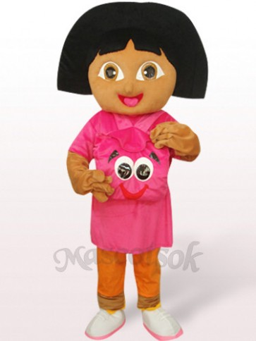 Cute Girl In Purple Dora Plush Mascot Costume