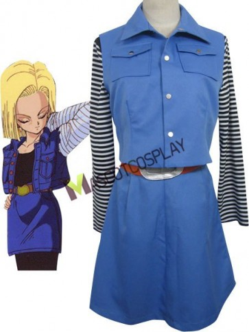 Dragon Ball Android 18 Uniform Cloth Combined Leather Cosplay Costume