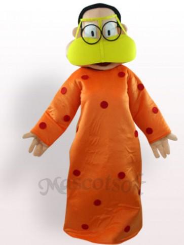 Fat Woman In Orange Clothes Plush Adult Mascot Costume