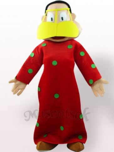 Fat Woman In Red Clothes Plush Adult Mascot Costume