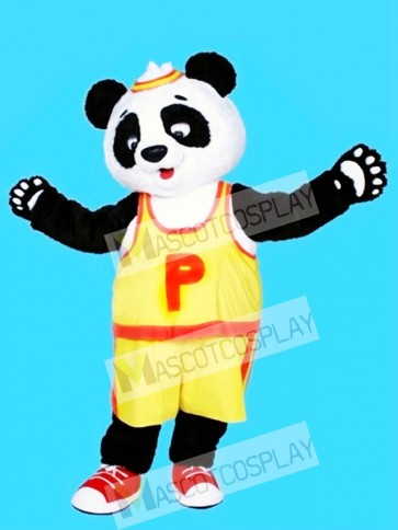 Yellow T shirt Panda Mascot Costume