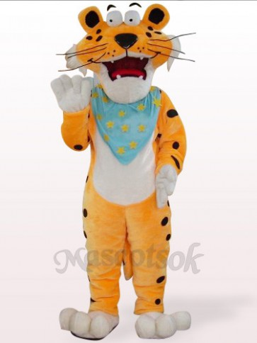 Orange Leopard With Blue Scarf Plush Mascot Costume