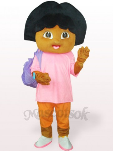 Pink Dora With Small Bag Plush Adult Mascot Costume