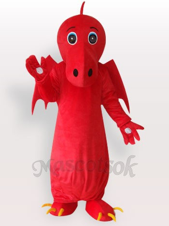 Red Chinese Dragon Short Plush Adult Mascot Costume