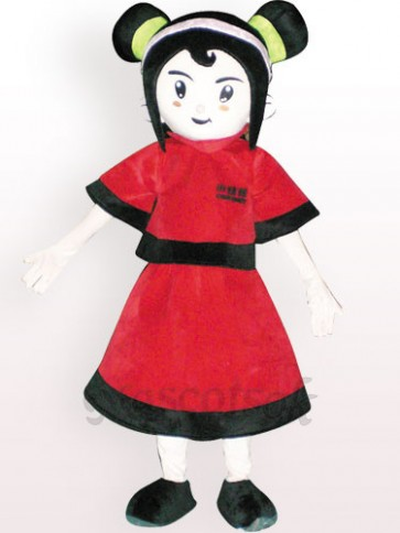 Red Dressed Girl Plush Adult Mascot Costume