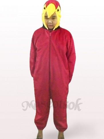 Red Parrot Open Face Kids Plush Mascot Costume