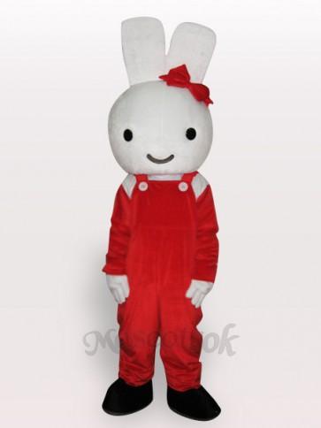 Easter Red Rabbit Short Plush Adult Mascot Costume