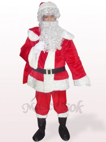 Red Santa Open Face Plush Mascot Costume