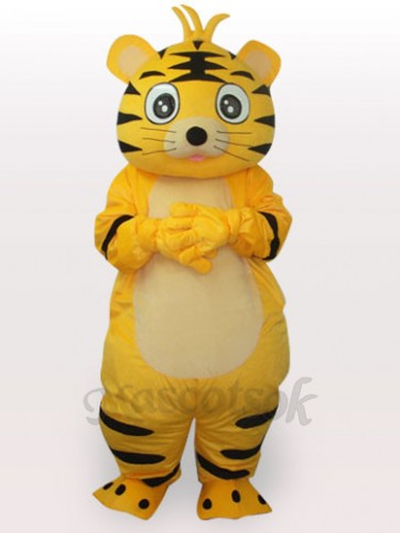 Smart Tiger Short Plush Adult Mascot Funny Costume
