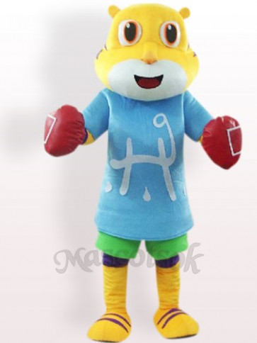 Tiger In Blue Clothes Plush Adult Mascot Costume