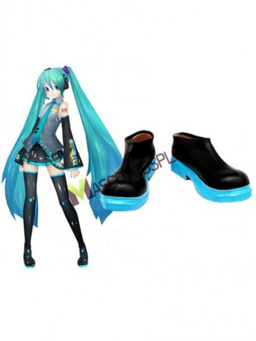 Stylish Vocaloid Hatsune Miku Imitated Leather Cosplay Shoes