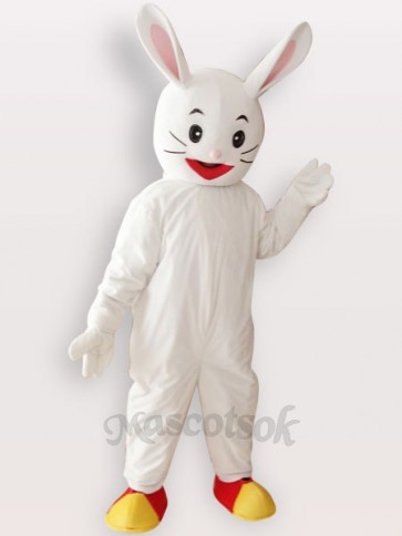 White Easter Bunny Rabbit Short Plush Adult Mascot Costume