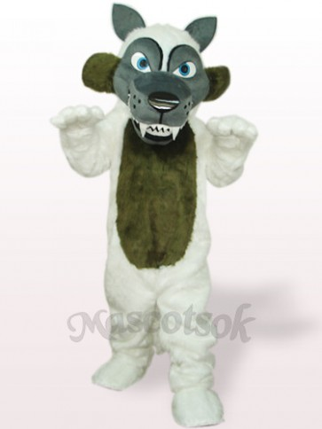 White Long Hair Wolf Plush Adult Mascot Costume