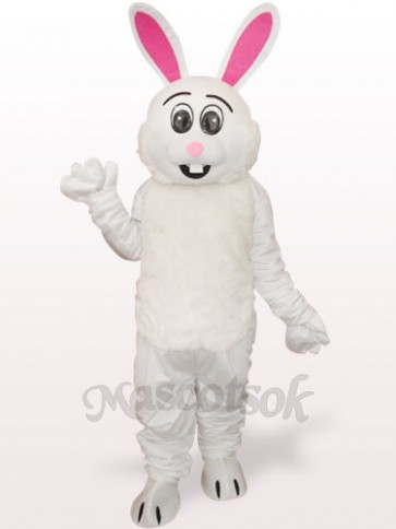Easter White Rabbit With Red Ear Plush Adult Mascot Costume