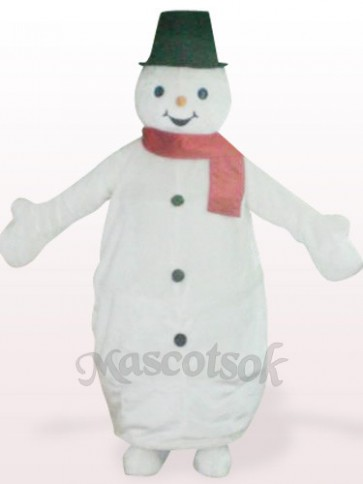 White Steel Ring Snowman Plush Mascot Costume