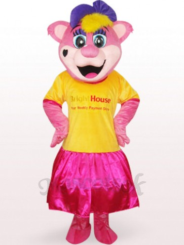 Yellow Female Pipi Bear With Logo Plush Adult Mascot Costume