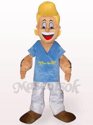 Yellow Hair Popeye In Blue Clothes Plush Mascot Costume