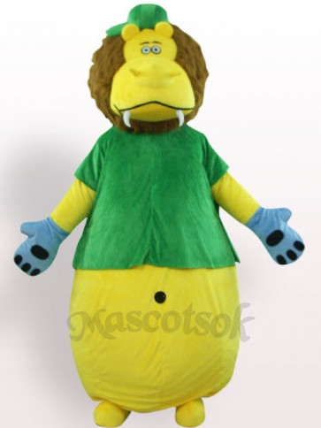 Yellow Lion In Green Clothes Plush Adult Mascot Costume