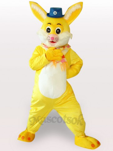 Easter Yellow Rabbit Short Plush Adult Mascot Costume