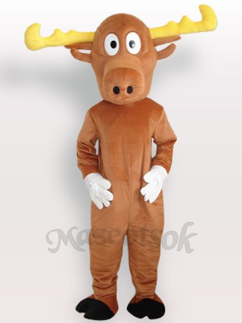 Yellow Reindeer Adult Mascot Costume