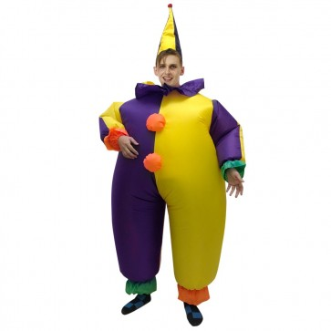Clown in Purple and Yellow Clothes Inflatable Costume Halloween Christmas Jumpsuit for Adult