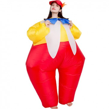 Clown with Tie Inflatable Costume Halloween Christmas Jumpsuit for Adult