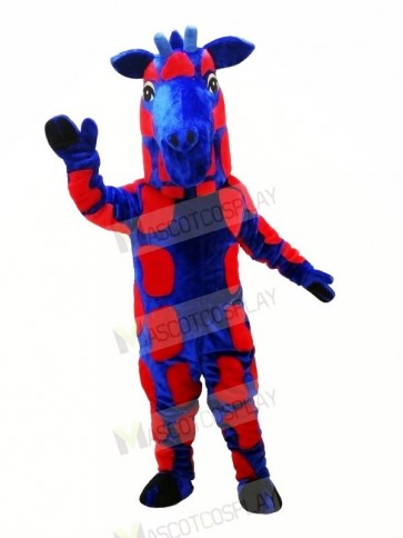 Blue and Red Giraffe Mascot Costumes Animal