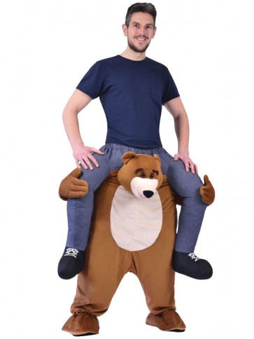 Piggy Back Bear Carry Me Ride on Brown Bear Mascot Costumes Halloween
