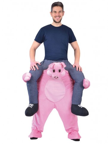 Piggy Back Pink Pig Carry Me Ride on Hog Mascot Costumes Halloween
