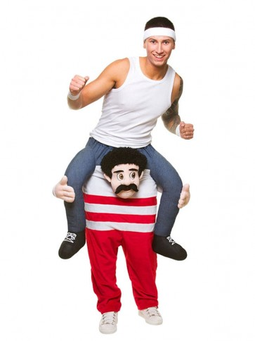 Piggy Back Comedy Athlete Carry Me Ride on Marathon Man Mascot Costumes Halloween