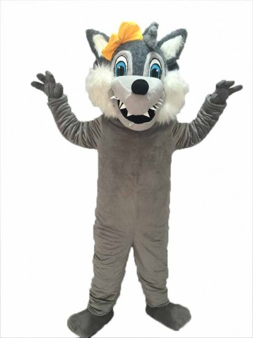 Grey Big Bad Female Wolf withe Yellow Bow Mascot Costume