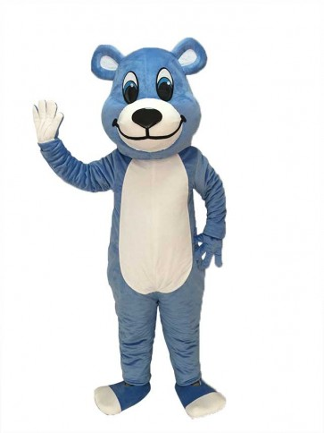White Belly Blue Bear Mascot Costume with Blue Eyes