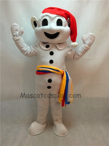 Snowman Mascot Costume with Red Hat