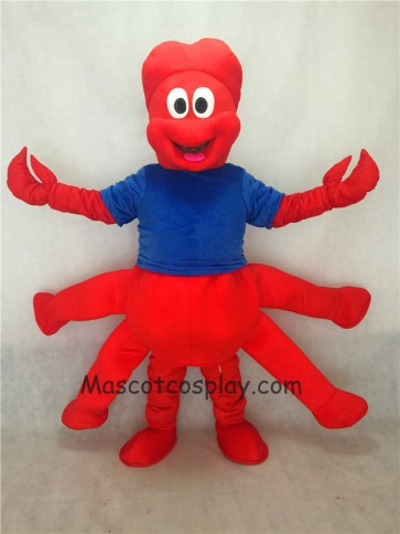 Strange Red Claw Mascot Adult Costume with Blue Vest