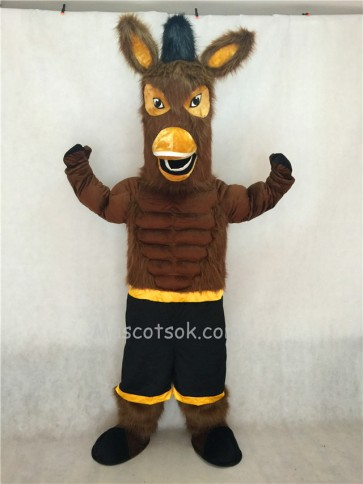 Black Jack Brown Mule Mascot Character Costume Fancy Dress Outfit